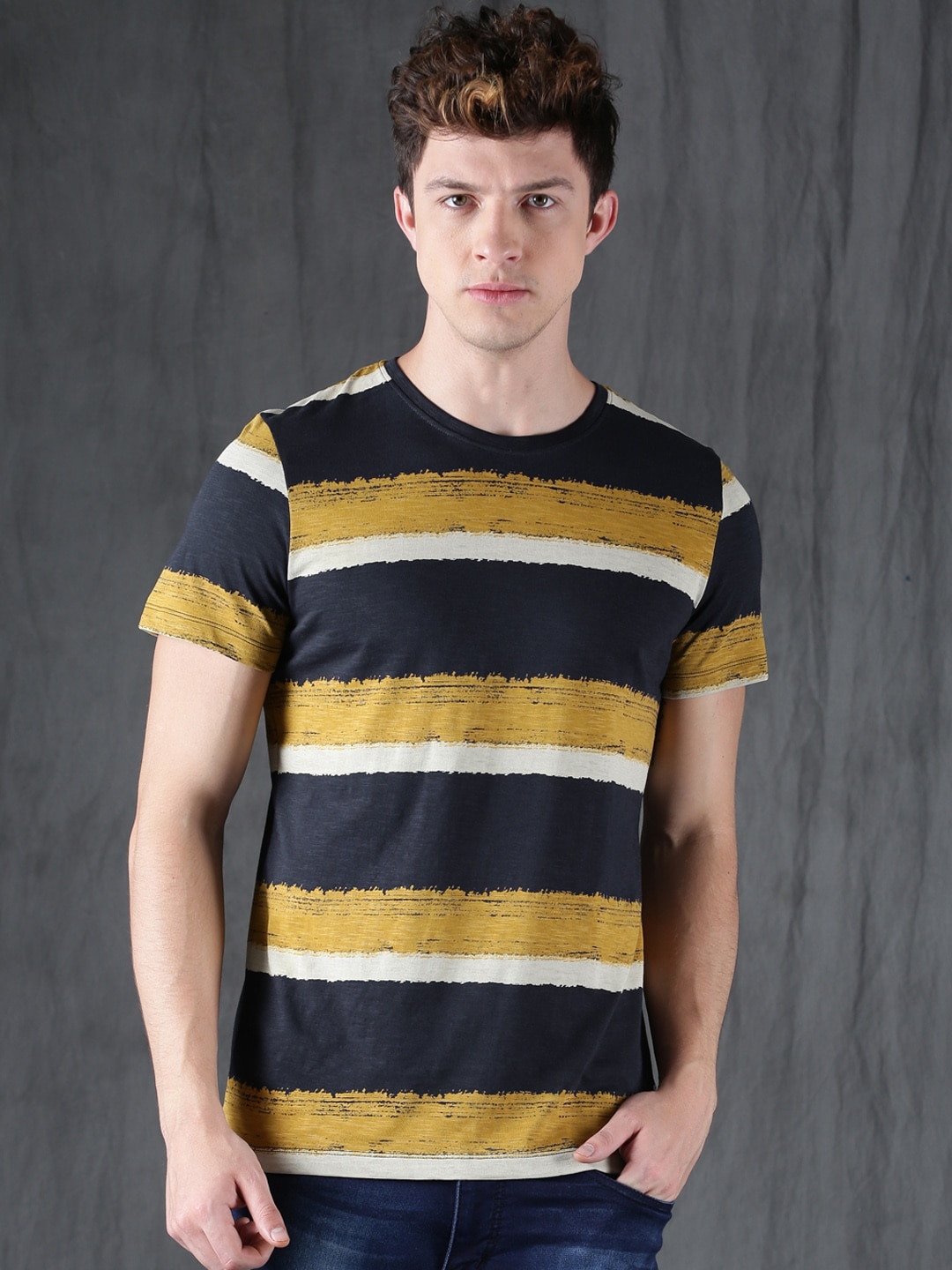 Buy WROGN Navy Blue Striped Round Neck Slim Fit Men's T-shirt At Best Price