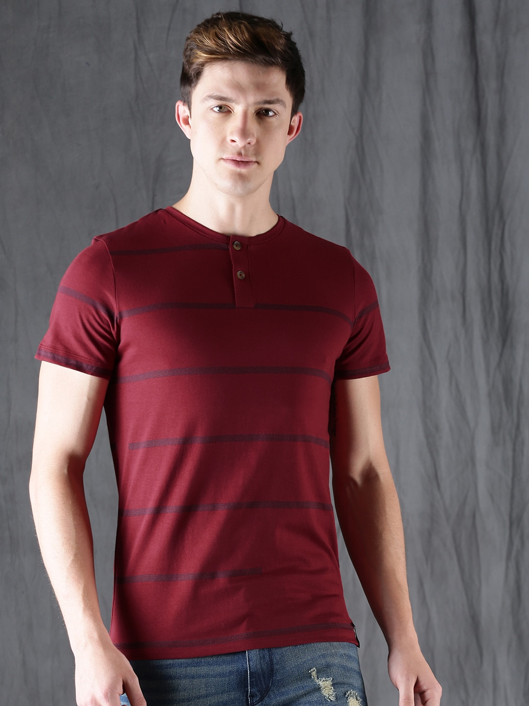 Buy WROGN Maroon Striped Henley Neck Men's  T-shirt At Best Price