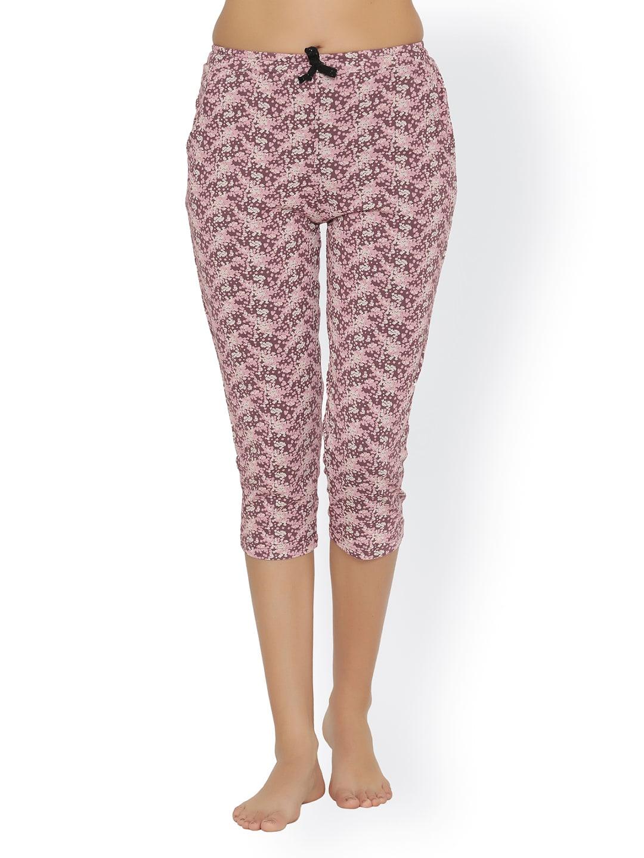Clovia Women Purple Printed Skinny Fit Capris image