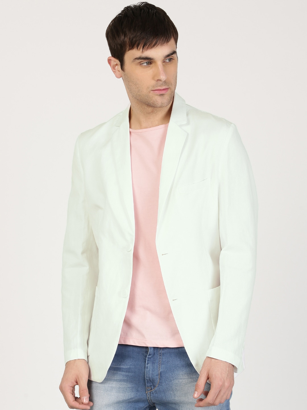 ether Men White Single-Breasted Solid Regular Fit Casual Blazer image