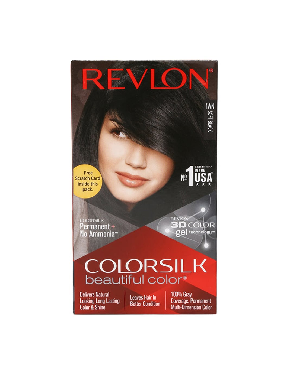 Revlon Colorsilk Unisex Beautiful Color Soft Black Hair Colour Kit image