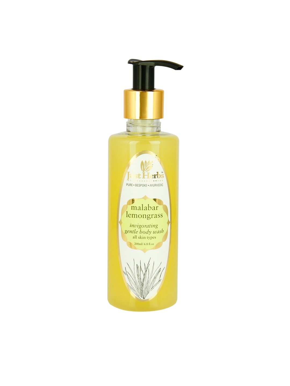 Just Herbs Unisex Malabar Lemongrass Invigorating Gentle Body Wash 200 ml image