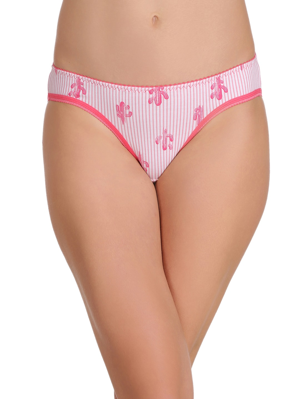 Clovia Women Pink Printed Bikini Briefs PN2222P22XXL image