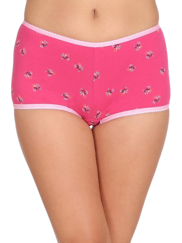 Clovia Women Pink Printed Cotton Mid Waist Boy Shorts PN2229P143XL image
