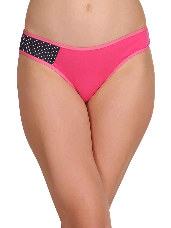 Clovia Women Pink Printed Bikini Briefs PN2192P22XXL image