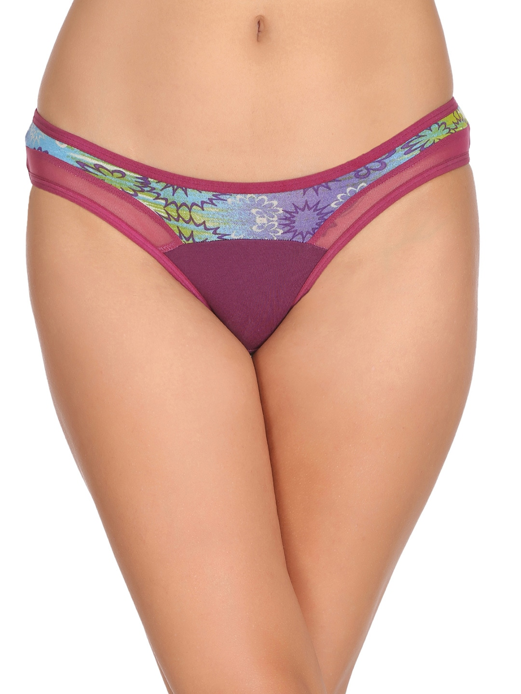 Clovia Women Purple Printed Bikini Briefs PN2201P15XXL image