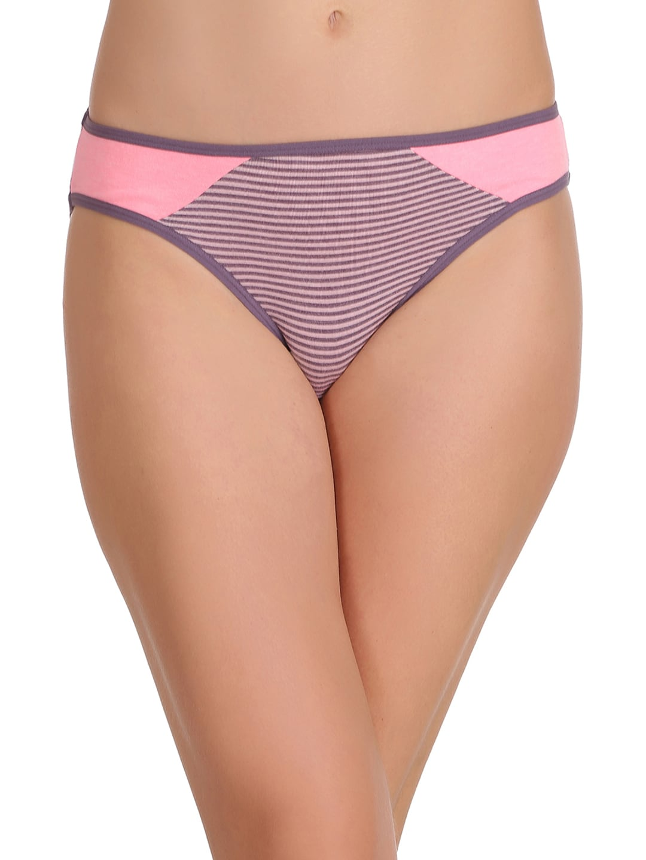 Clovia Women Purple & Pink Colored Bikini Briefs PN2215P15XXL image