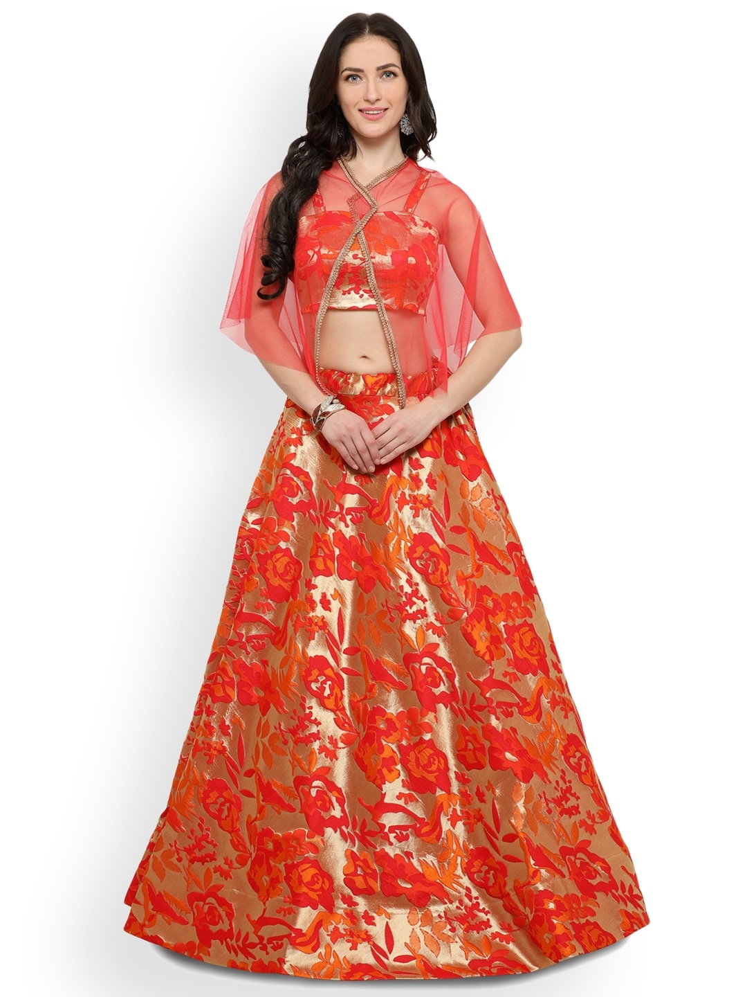 Inddus Gold-Toned Semi-Stitched Lehenga With Blouse image