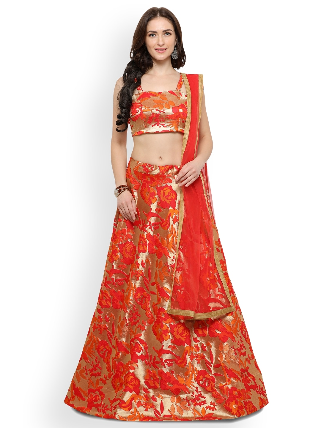 Inddus Gold-Toned & Orange Semi-Stitched Lehenga & Unstitched Blouse With Dupatta image