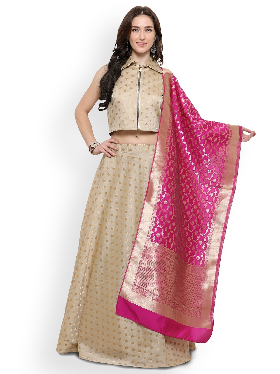 Inddus Beige & Pink Woven Design Semi-Stitched Lehenga & Unstitched Blouse With Dupatta image