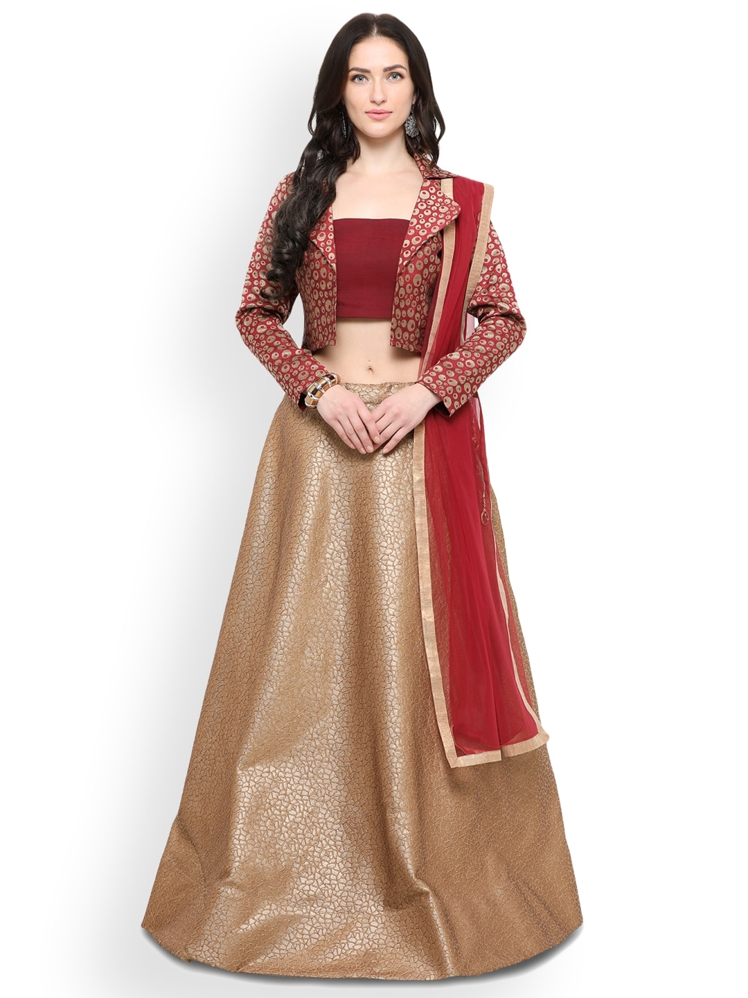 Inddus Beige & Maroon Woven Design Semi-Stitched Lehenga & Unstitched Blouse With Dupatta image