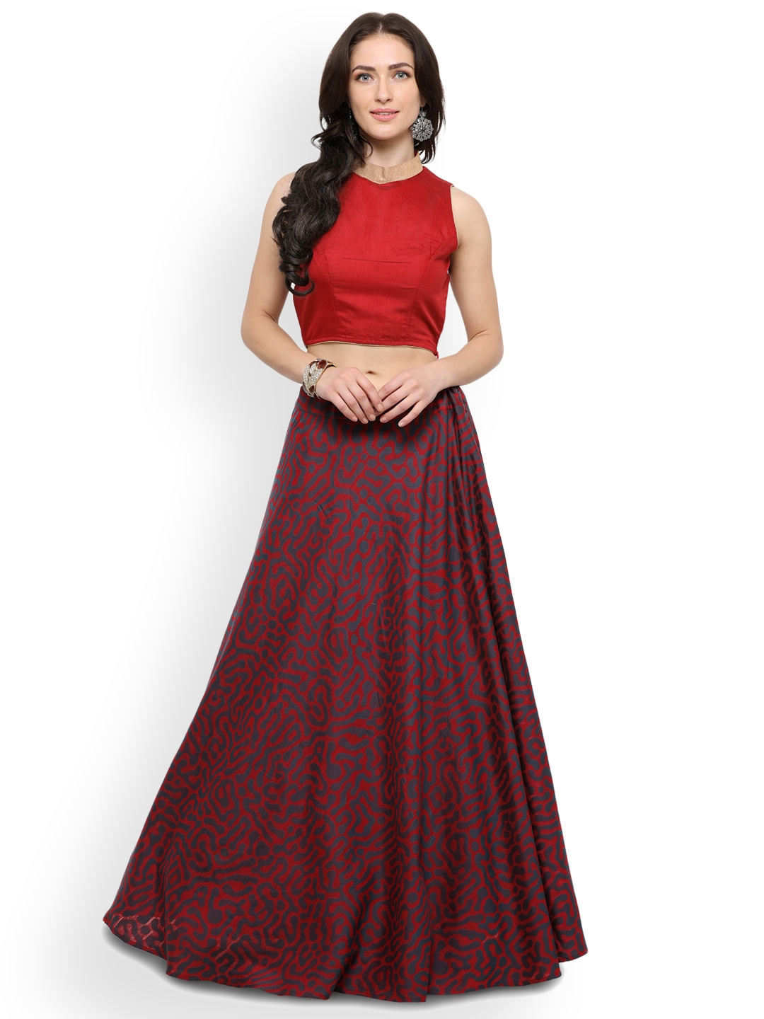 Inddus Red Semi-Stitched Lehenga With Blouse image