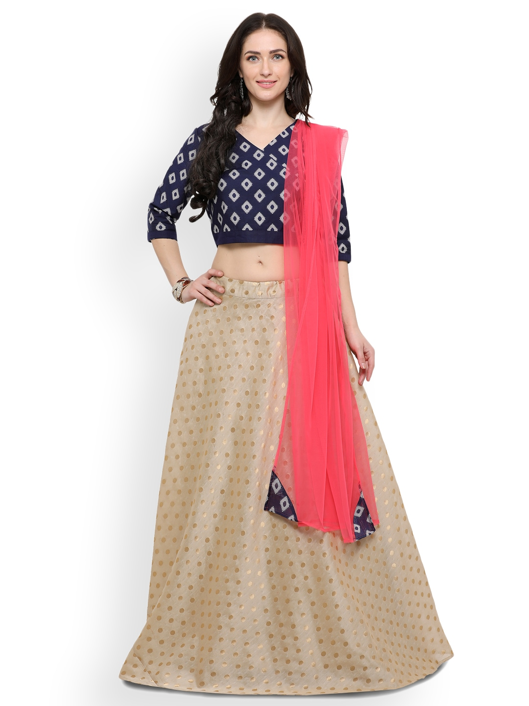Inddus Beige & Blue Woven Design Semi-Stitched Lehenga & Unstitched Blouse With Dupatta image