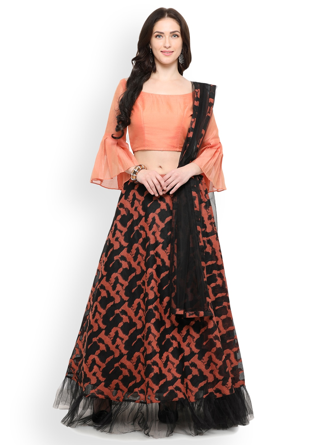 Inddus Black & Peach-Coloured Semi-Stitched Lehenga & Unstitched Blouse With Dupatta image