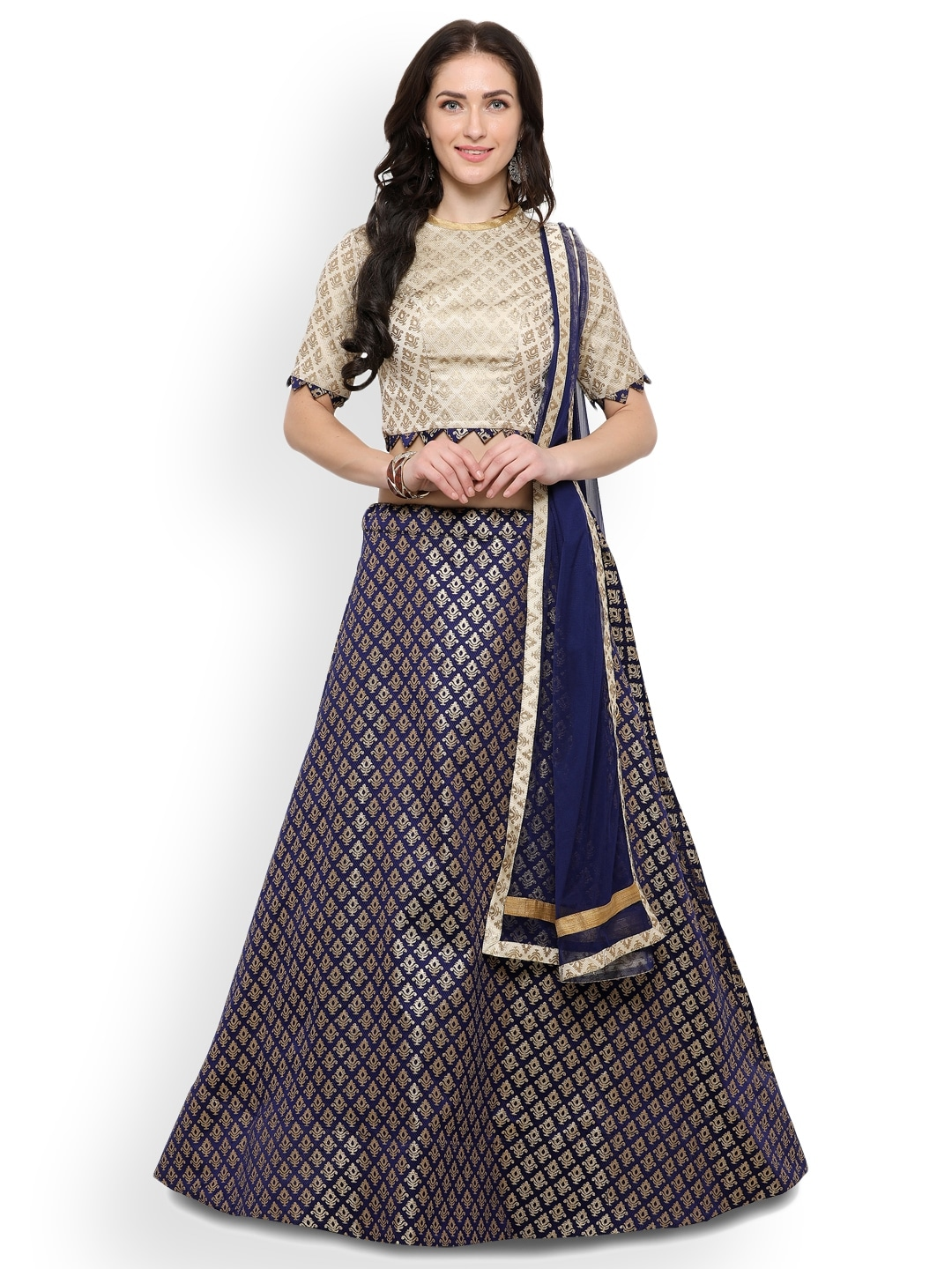 Inddus Blue & Gold-Tone Semi-Stitched Lehenga & Unstitched Blouse With Dupatta image