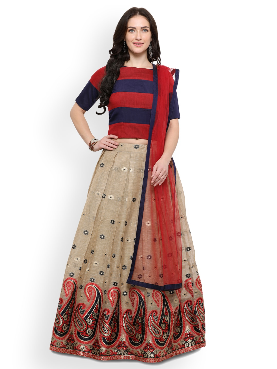 Inddus Cream-Coloured & Red Semi-Stitched Lehenga & Unstitched Blouse With Dupatta image