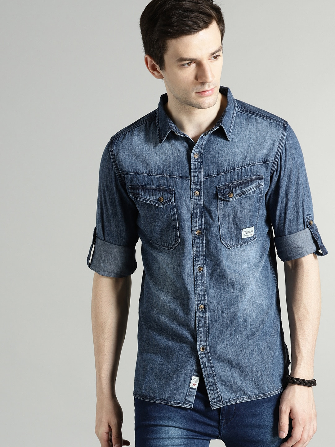 Buy Roadster Blue Regular Fit Faded Men's Casual Shirt At Best Price