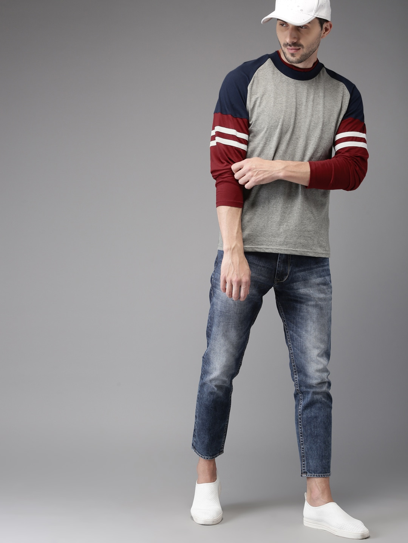 Buy HERE&NOW Grey Melange Solid Round Neck Men's T-shirt At Best Price