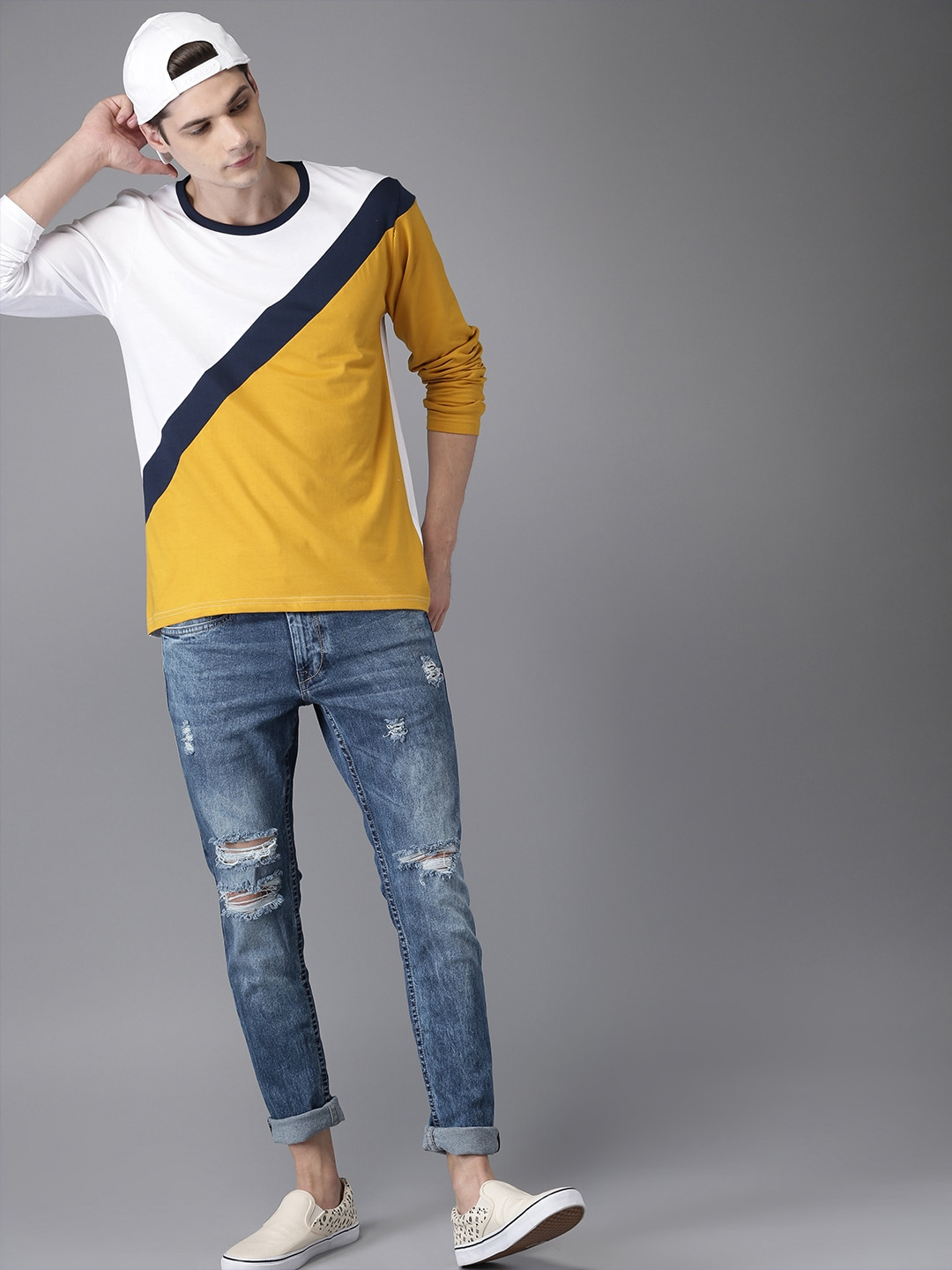 Buy HERE&NOW Blue Skinny Fit Mid-Rise Highly Distressed Stretchable Men's Jeans At Best Price