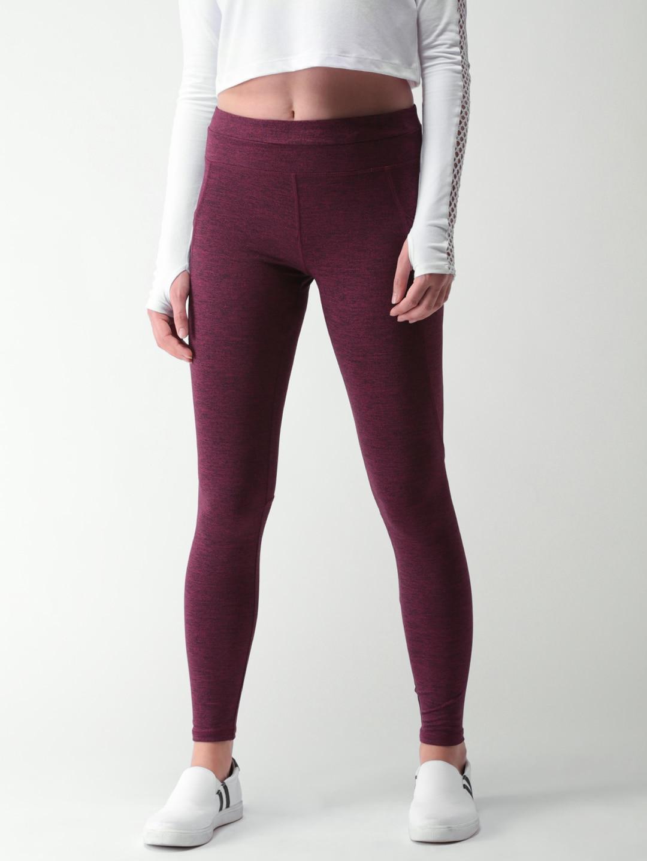 FOREVER 21 Burgundy Skinny Fit Leggings image