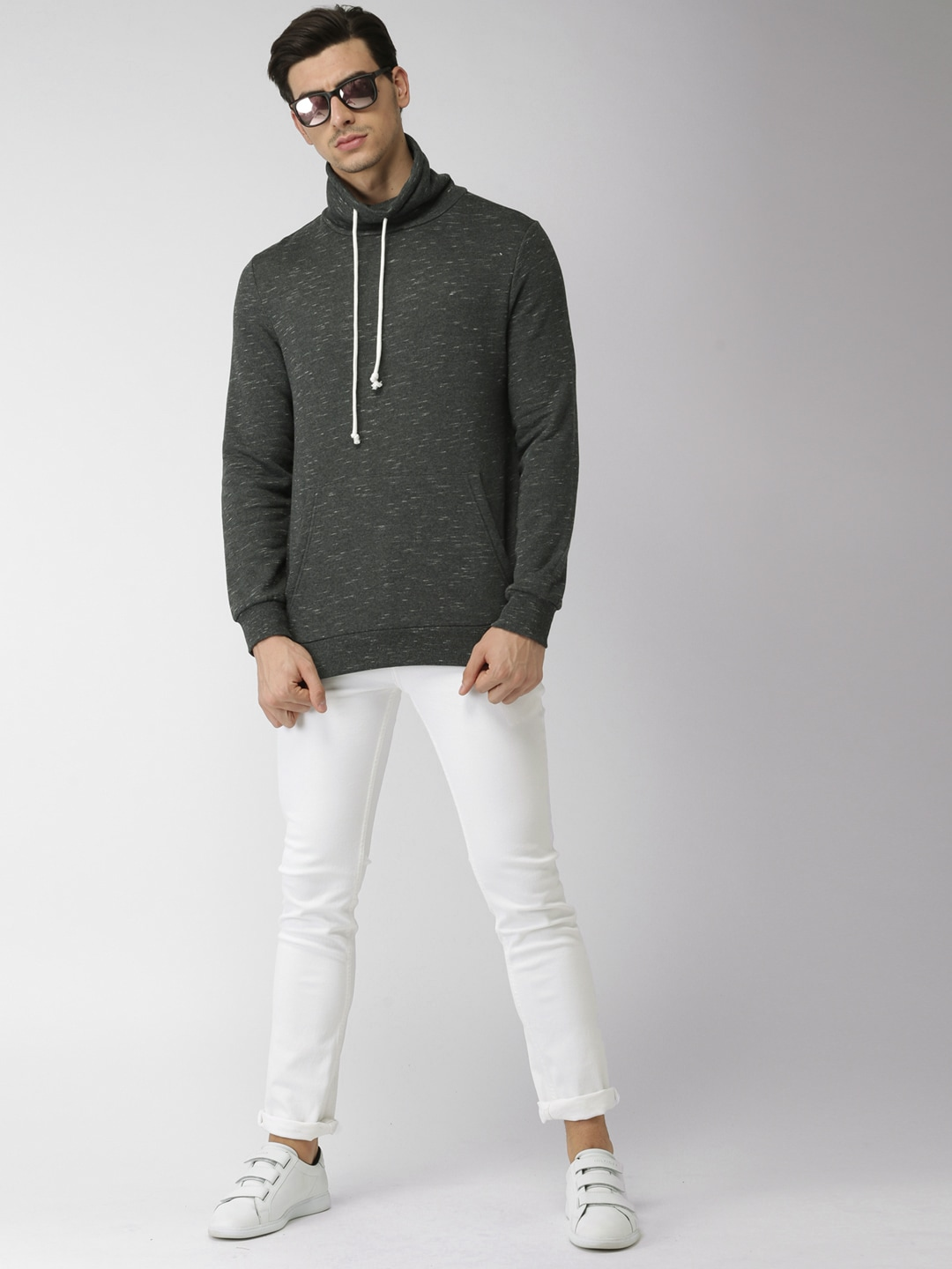 Buy FOREVER 21 Charcoal Grey Self Design Men Sweatshirt At Best Price