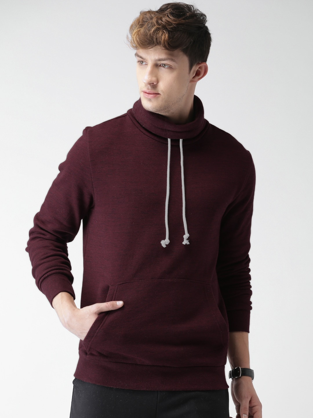 Buy FOREVER 21 Burgundy Solid Men's Sweatshirt At Best Price In India