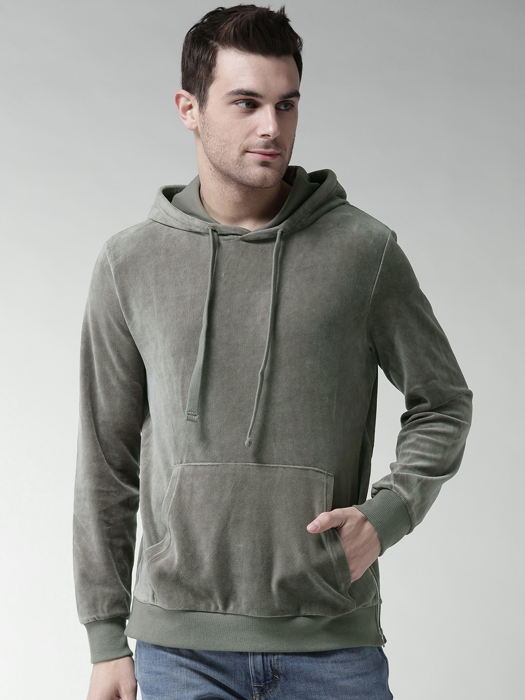 Buy FOREVER 21 Grey Solid Hooded Velvet-Finish Men's Sweatshirt At Best Price In India