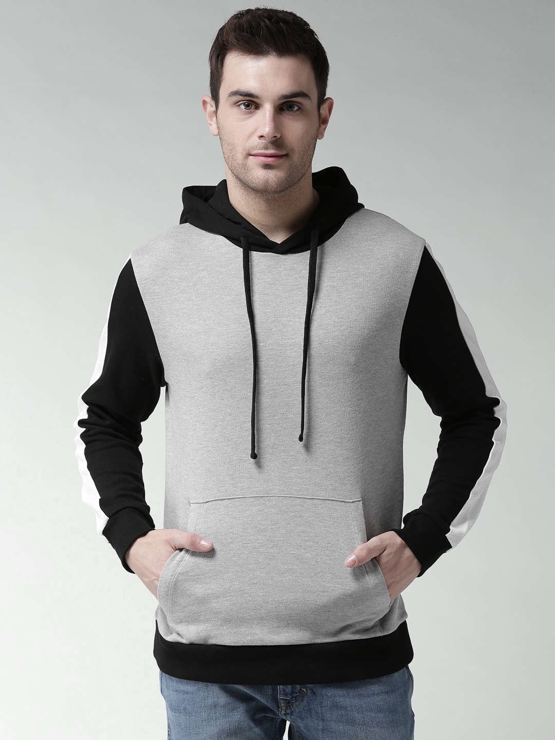 Buy FOREVER 21 Grey & Black Solid Hooded Men's Sweatshirt At Best Price In India