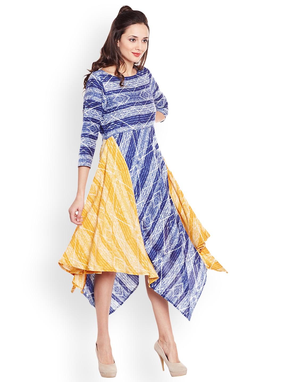 Azira Women Blue & Yellow Printed Fit and Flare Dress image