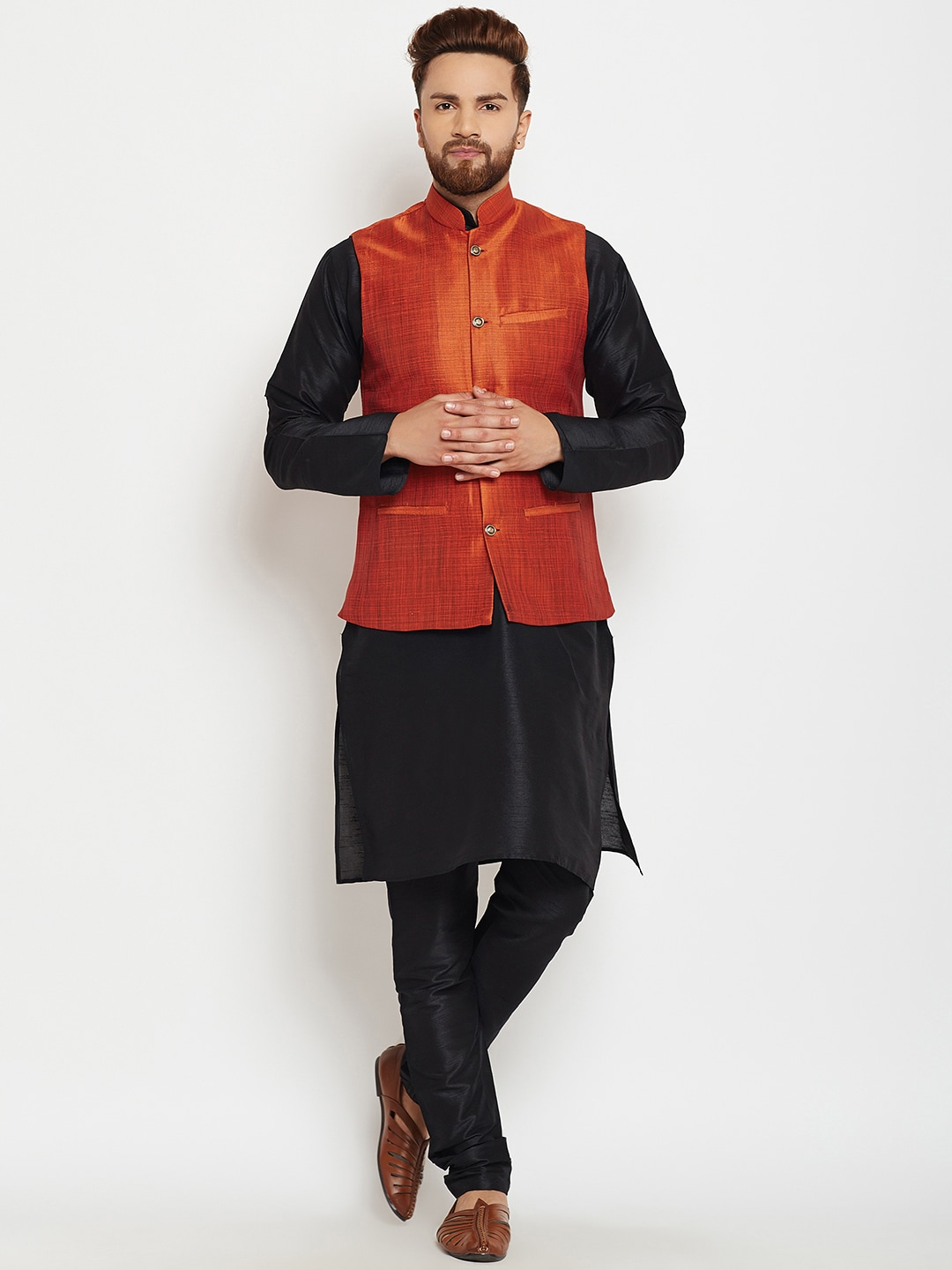 SOJANYA Men Black & Orange Self Design Kurta with Pyjamas image