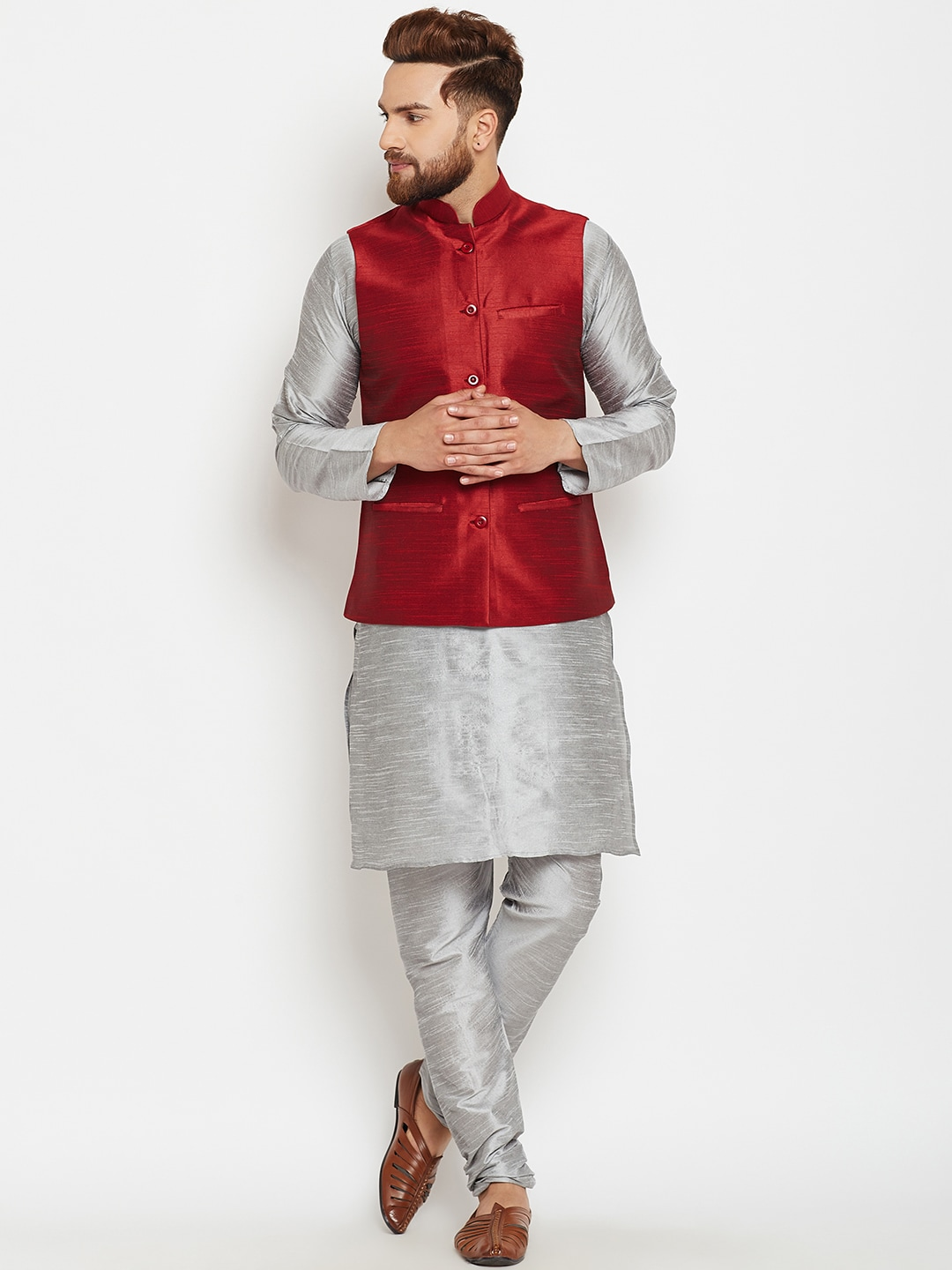 SOJANYA Men Grey & Maroon Solid Kurta with Churidar image