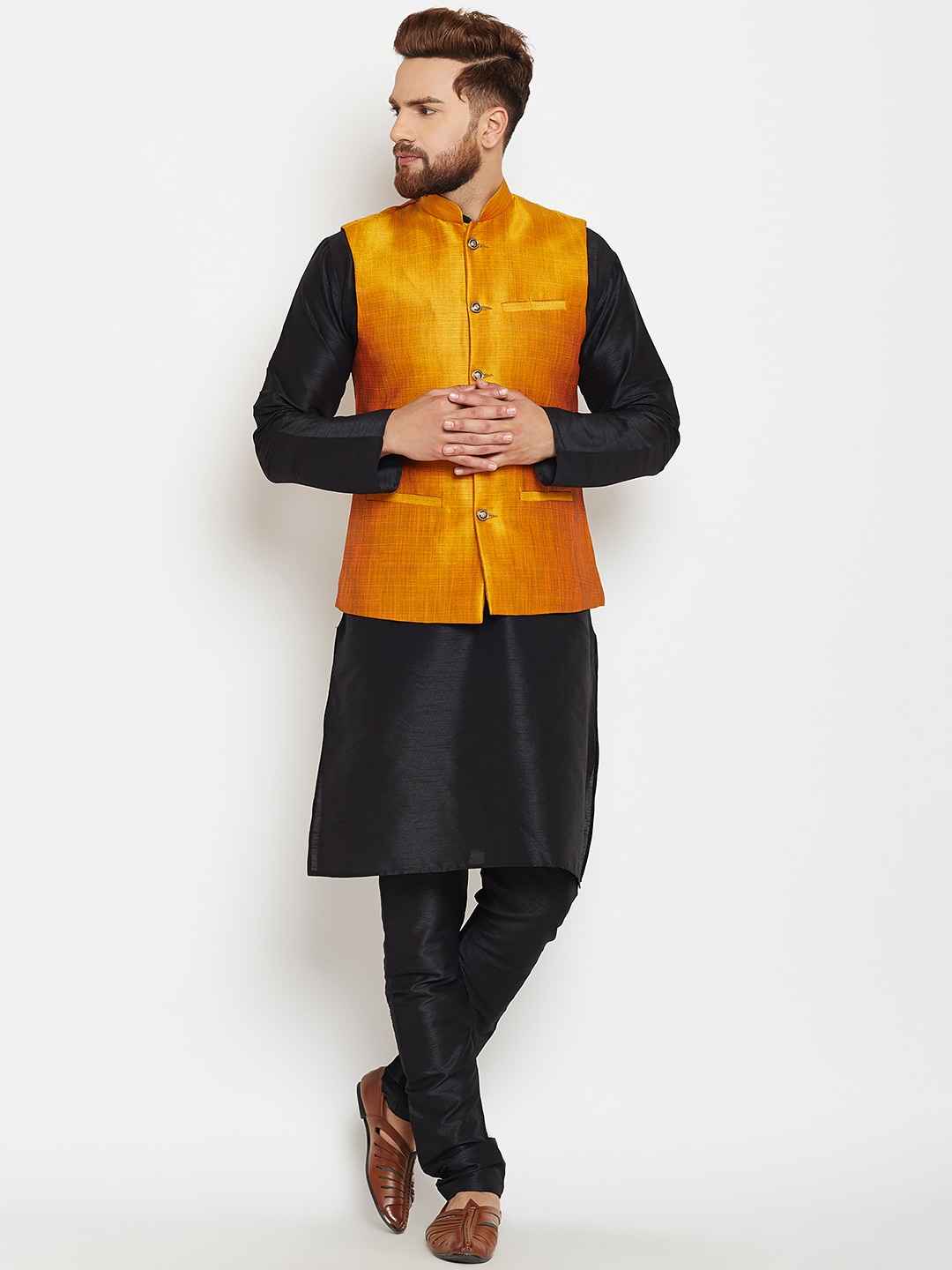 SOJANYA Men Black & Mustard Self Design Kurta with Pyjamas and Nehru Jacket image