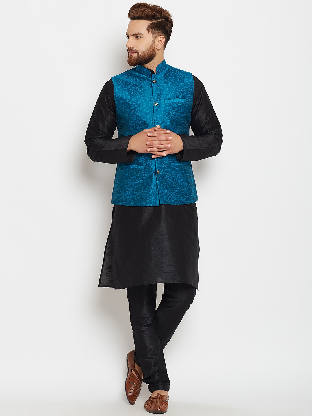 SOJANYA Men Black & Blue Self Design Kurta Pyjamas image