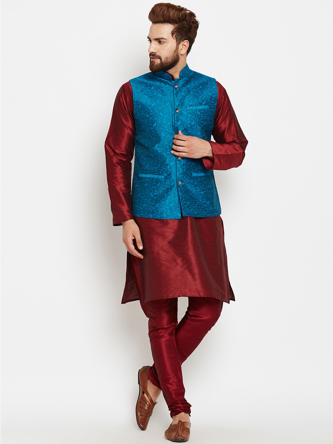SOJANYA Men Maroon & Blue Self Design Kurta Pyjamas with Waistcoat image