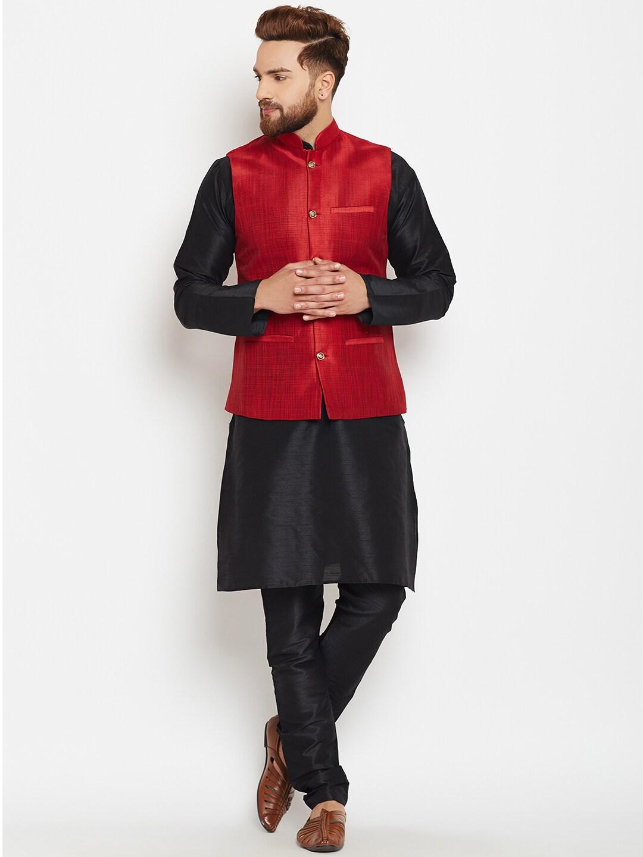 SOJANYA Men Black & Maroon Self Design Kurta with Pyjamas and Nehru Jacket image