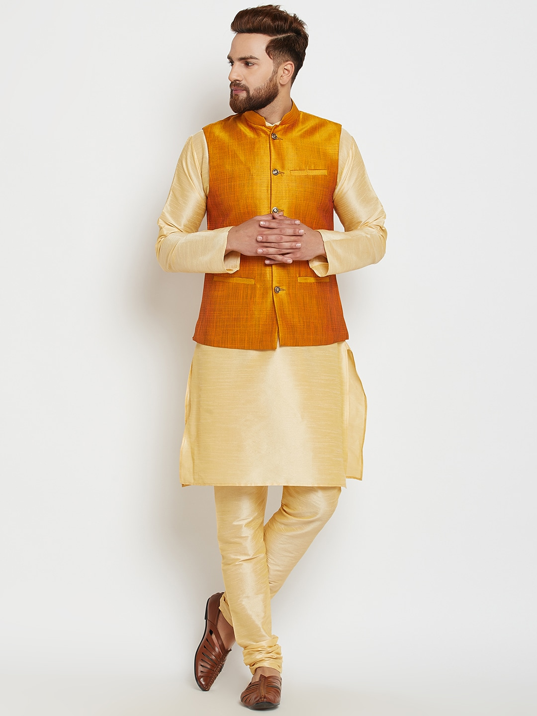 SOJANYA Men Gold-Toned & Mustard Self Design Kurta with Pyjamas and Nehru Jacket image