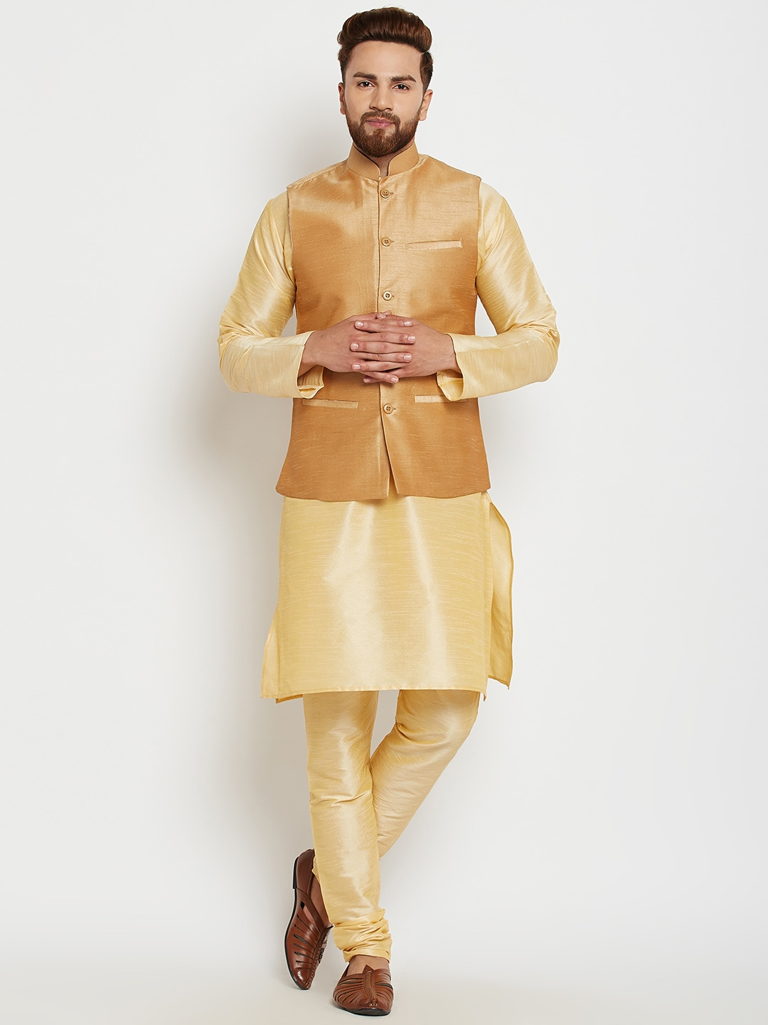 SOJANYA Men Gold-Toned & Beige Solid Kurta with Churidar image