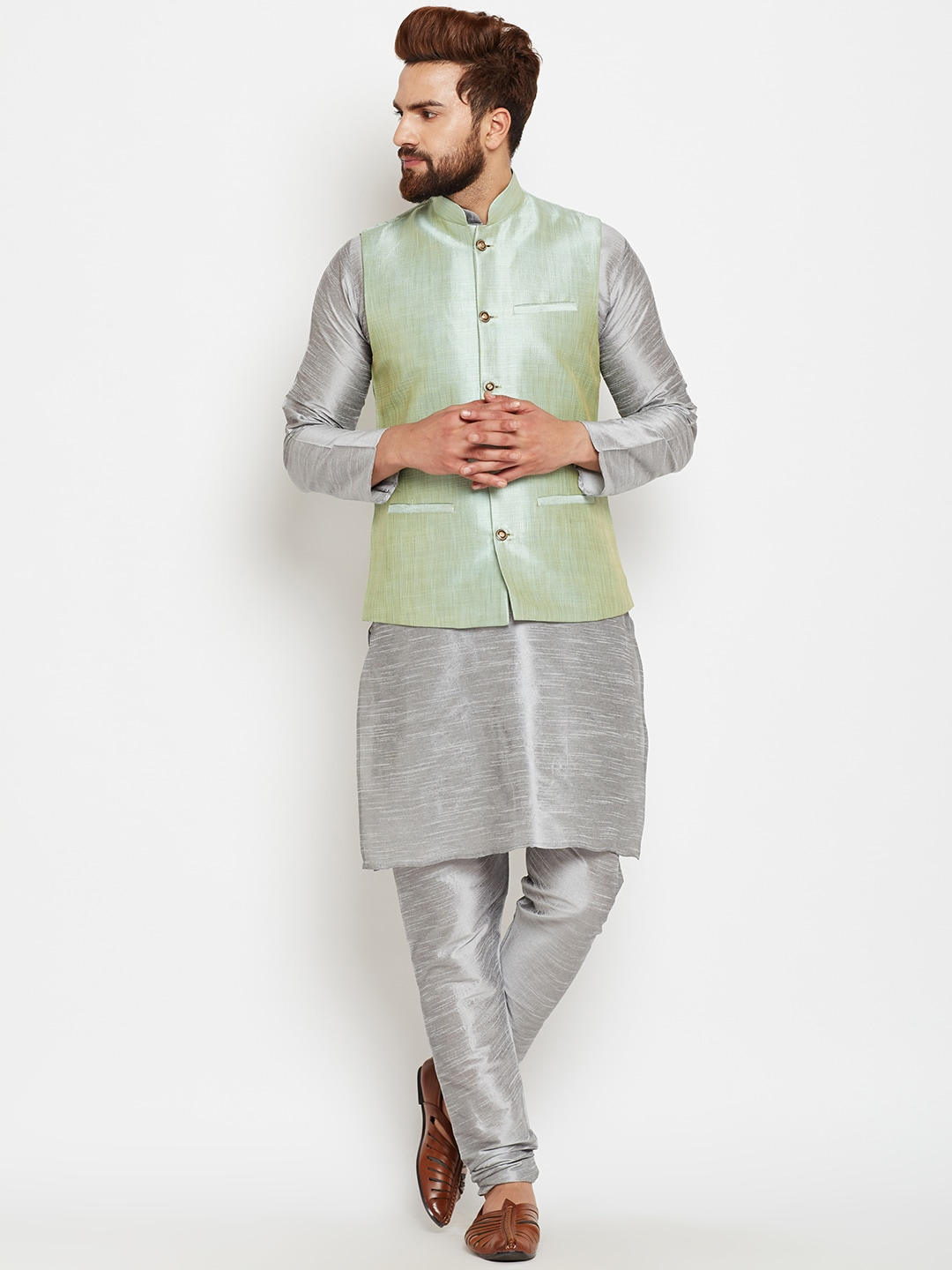 SOJANYA Men Grey & Green Self-Design Kurta with Churidar and Nehru Jacket image