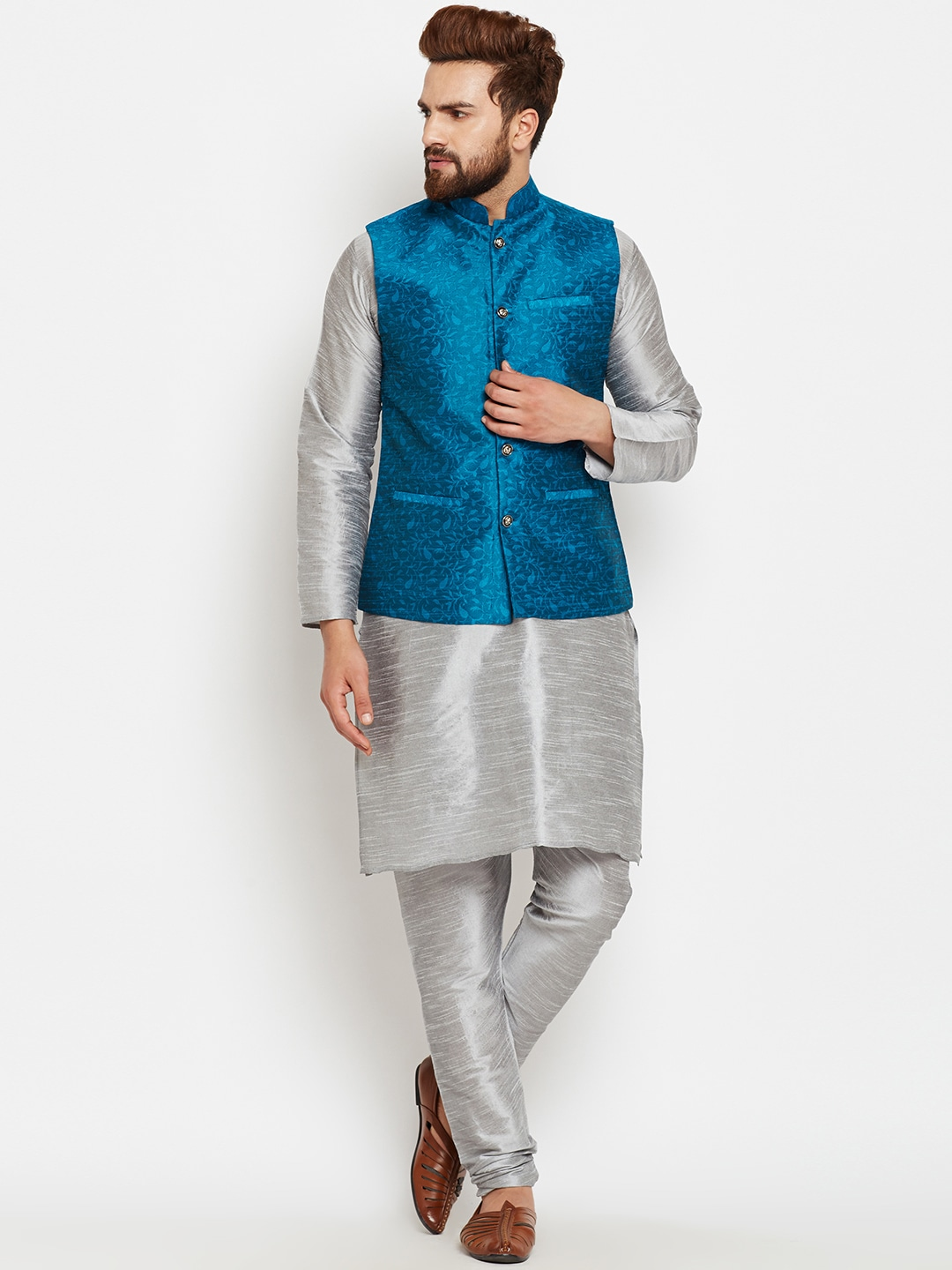 SOJANYA Men Grey & Blue Self Design Kurta Pyjamas with Waistcoat image