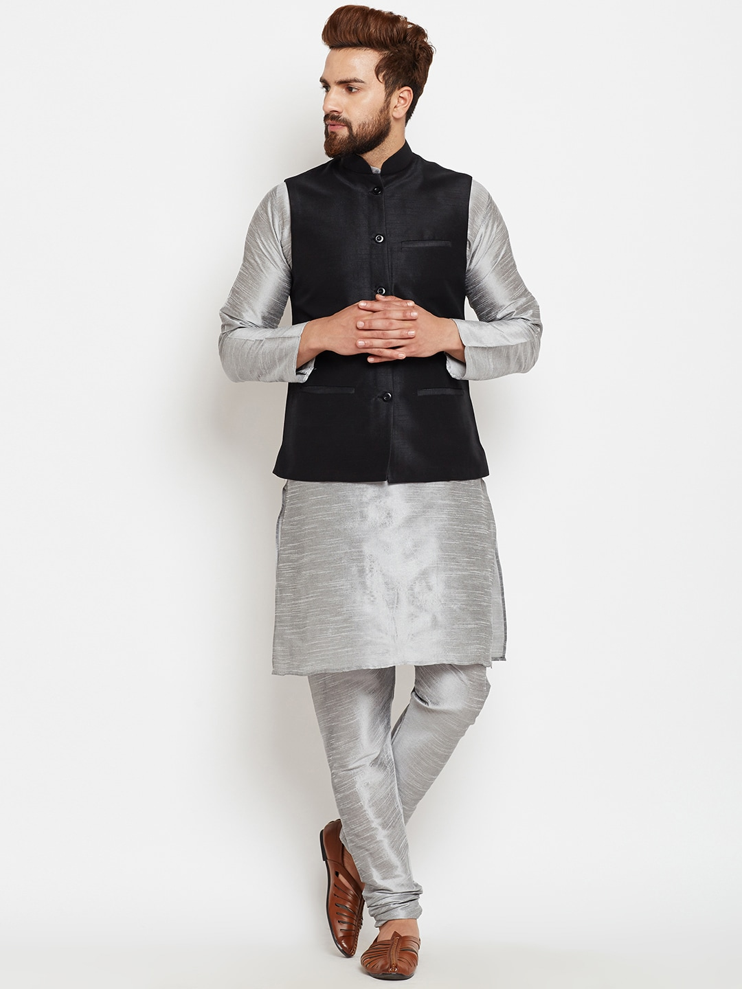 SOJANYA Men Grey & Black Self-Design Kurta with Churidar image
