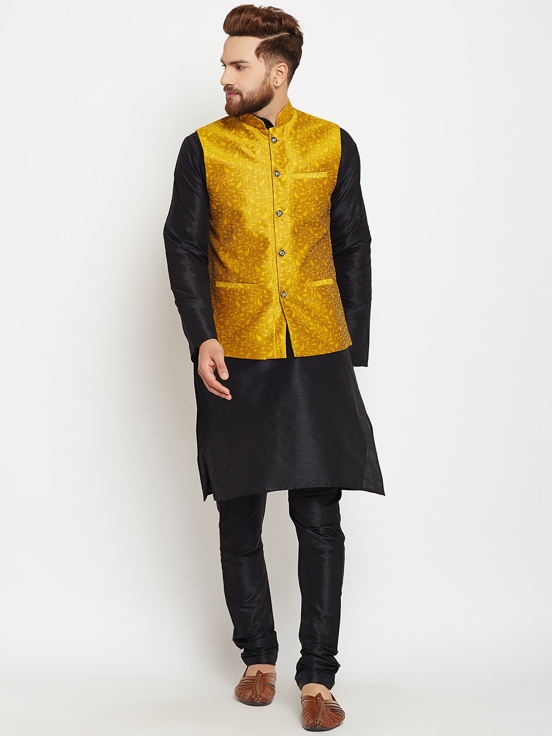 SOJANYA Men Black & Yellow Self Design Kurta Pyjamas with Waistcoat image