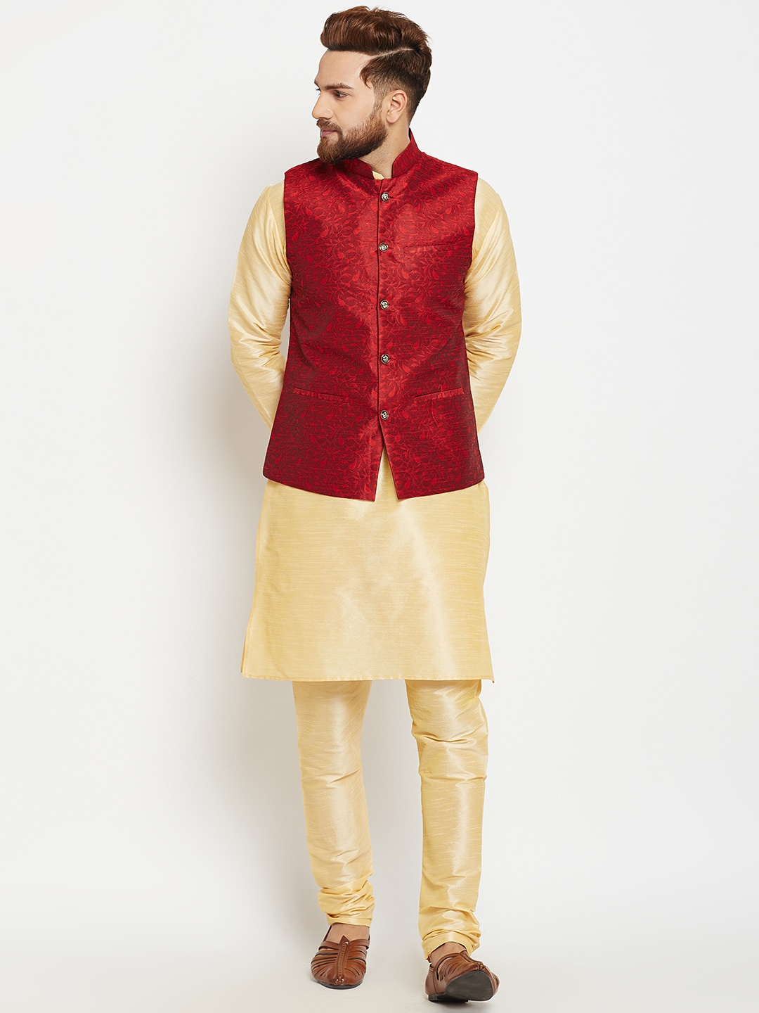 SOJANYA Men Gold-Toned & Maroon Self Design Kurta Pyjamas with Waistcoat image