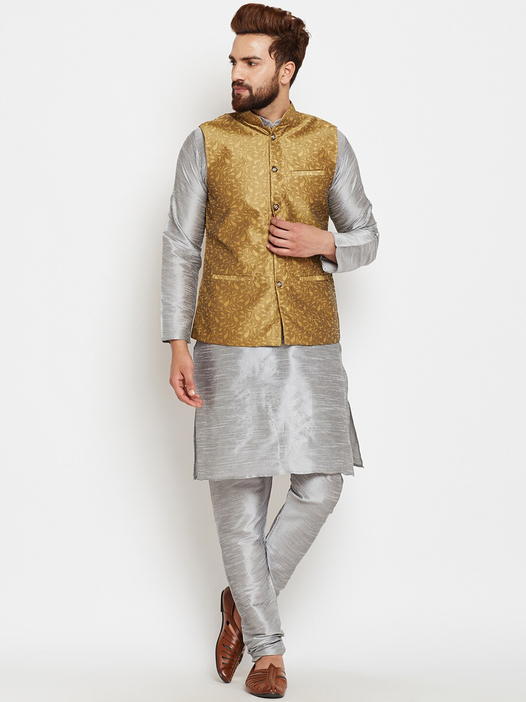 SOJANYA Men Grey & Gold-Toned Self Design Kurta Pyjamas with Waistcoat image