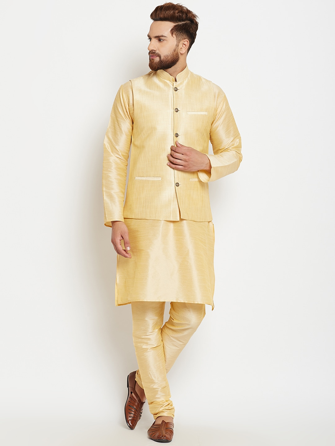SOJANYA Men Gold-Toned Self Design Kurta with Churidar image