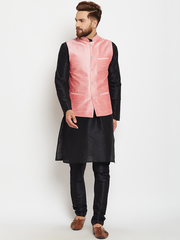 SOJANYA Men Black & Pink Self Design Kurta with Churidar image