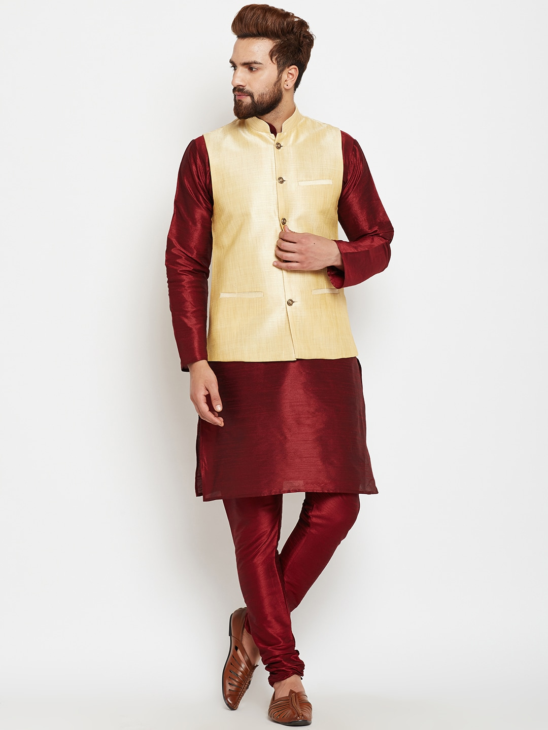 SOJANYA Men Maroon & Gold-Toned Self-Design Kurta with Churidar and Nehru Jacket image