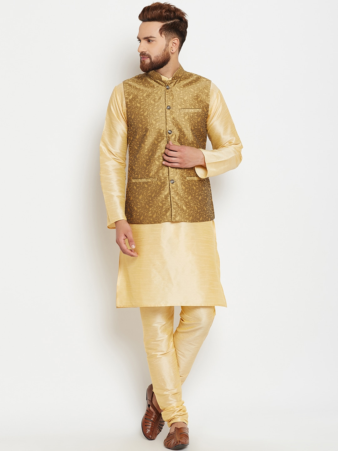 SOJANYA Men Gold-Toned Self Design Kurta Pyjamas with Waistcoat image