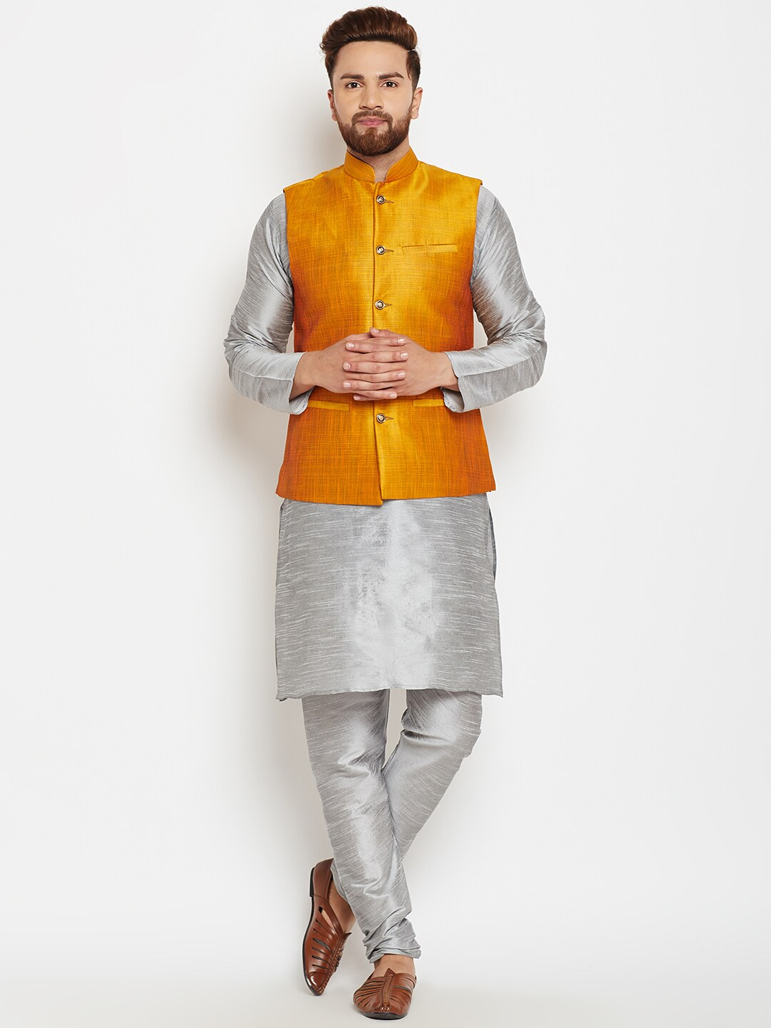 SOJANYA Men Grey & Mustard Self Design Kurta with Pyjamas and Nehru Jacket image
