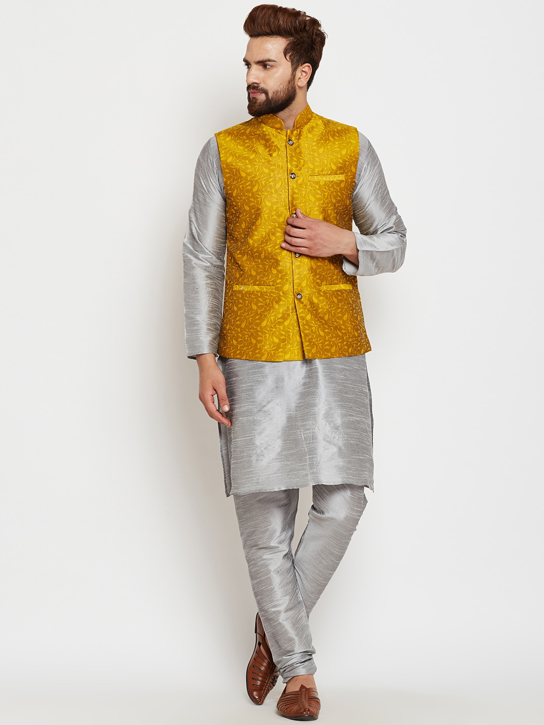 SOJANYA Men Grey & Yellow Self Design Kurta Pyjamas with Waistcoat image