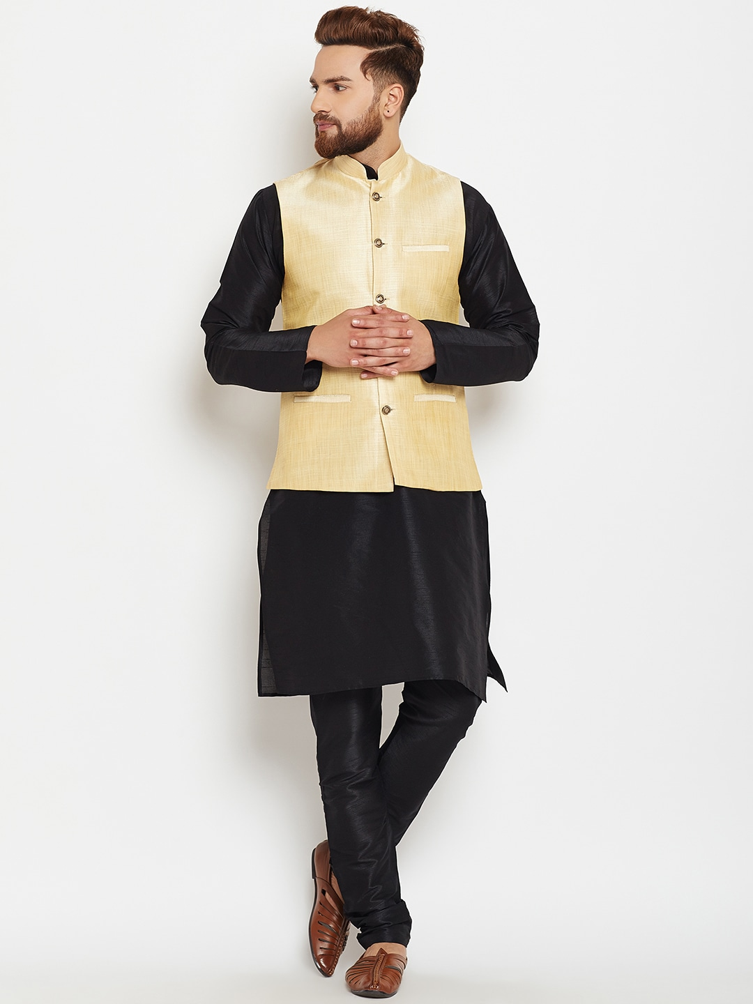 SOJANYA Men Black & Gold-Toned Self Design Kurta with Churidar image